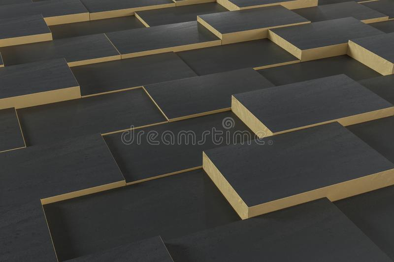 Dark undulating cubes, technological graphic background, 3d rendering royalty free illustration