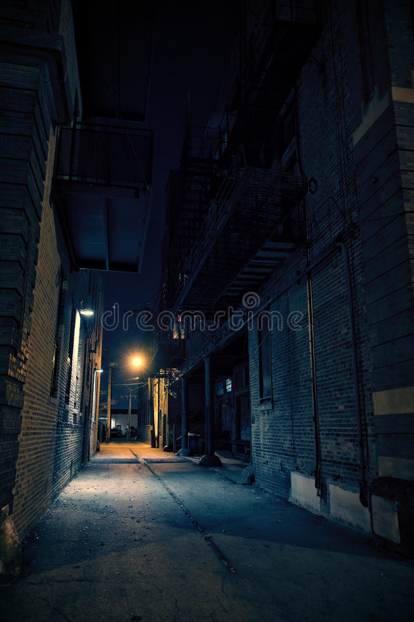 Dark Urban City Alley at Night. Dark City Urban Alley at Night royalty free stock photo