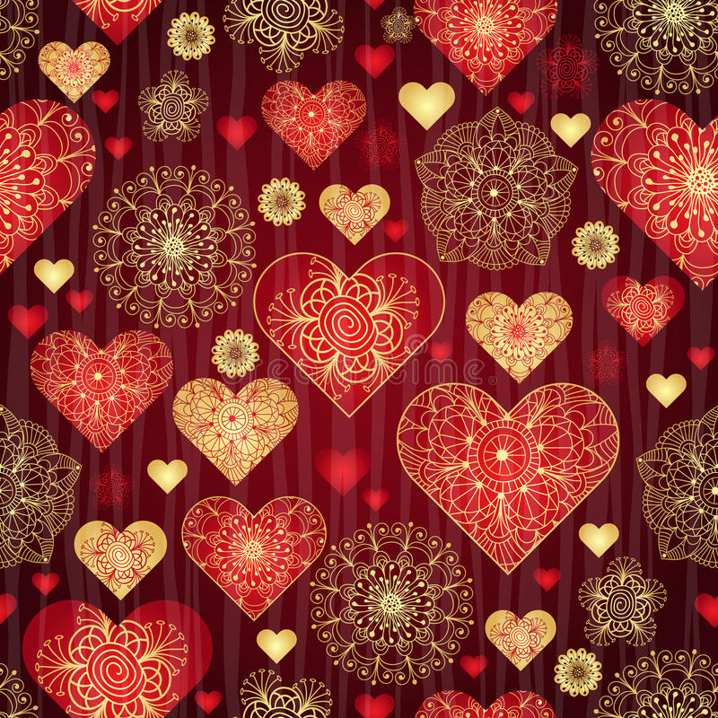 Dark valentine pattern with shiny red and gold vintage hearts stock illustration