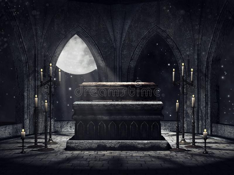 Vampire crypt with candles stock illustration