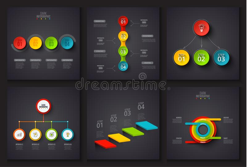 Dark vector elements for infographic. Template for diagram, graph, presentation and chart. Business concept with 3, 4 royalty free illustration