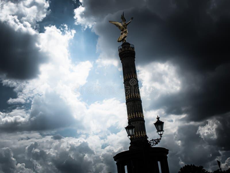 Dark view of the golden angel of the Berlin Victory Column. A dark view of the golden angel of the Berlin Victory Column royalty free stock photos