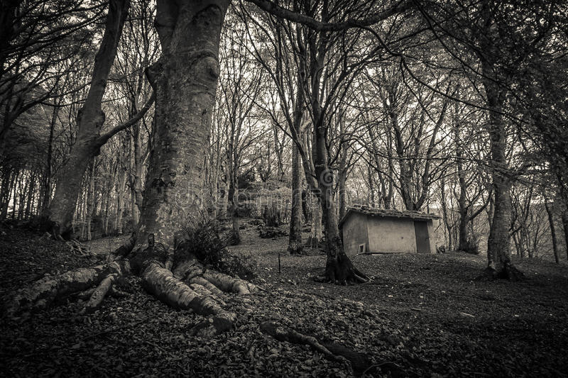 Dark village in mountain royalty free stock photography