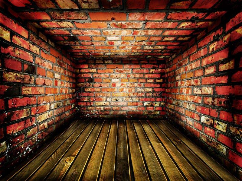 Dark vintage brick room stock image