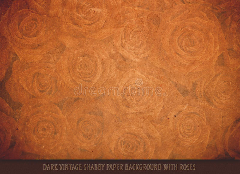 Dark vintage shabby paper background. With roses stock photo