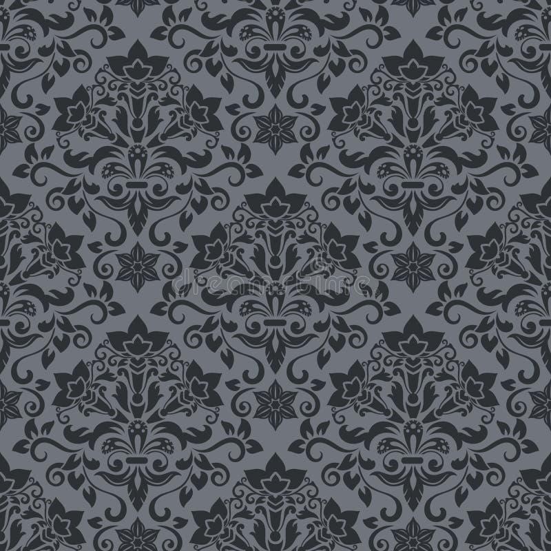 Dark Grey And Black Vintage Wallpaper Pattern Vector Illustration