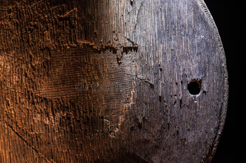 Dark vintage wood texture. Close up view of old grunge dark wooden surface. Selective stock image