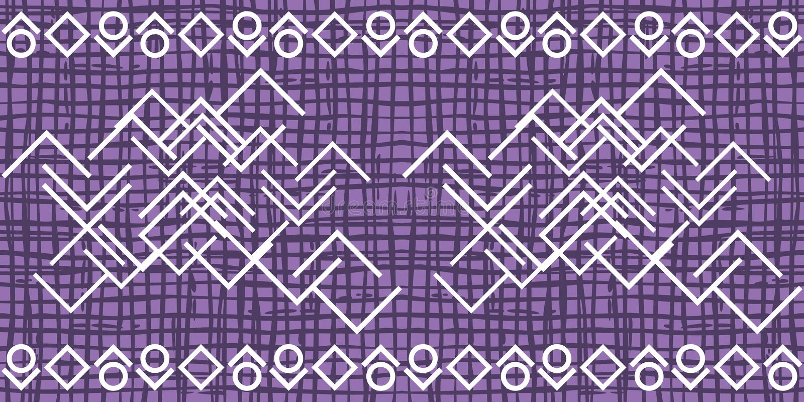 Dark violet irregular grid pattern with white ornament royalty free stock image