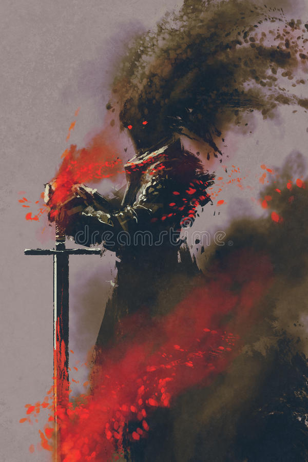 Dark warrior in the armor with the sword royalty free illustration