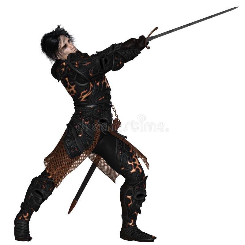 Dark Warrior Swinging a Sword stock photos
