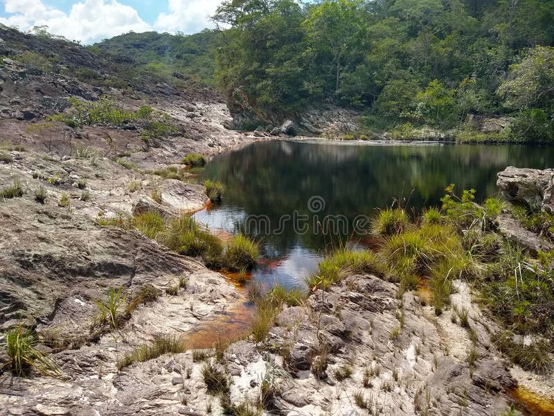 Dark water lagoon in Rio Preto State Park. A dark water lagoon in Rio Preto State Park, Brazil stock photography