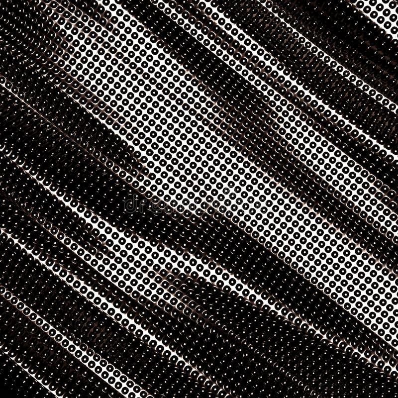 Dark wavy silver metallic dots background. 3d render illustration stock illustration
