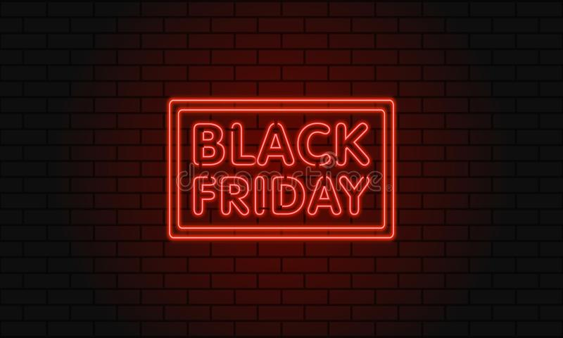 Dark web banner for black Friday sale. Modern neon red billboard on brick wall. Concept of advertising for seasonal offer with glo royalty free illustration