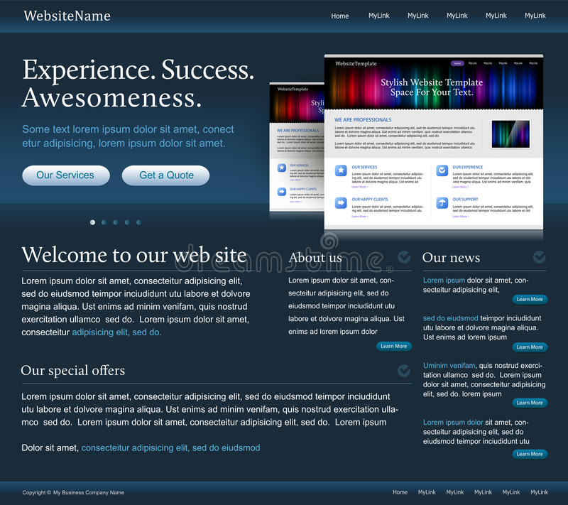 Dark web site template. Editable dark web site template with a space for a text - vector stock illustration