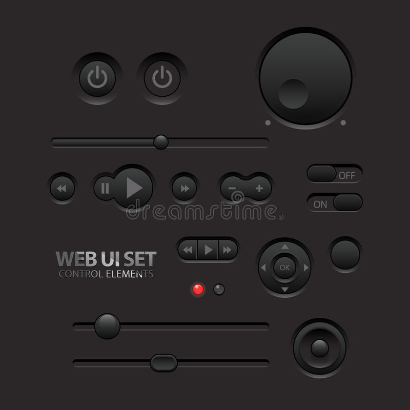 Dark Web UI Elements. Buttons, Switches, bars royalty free illustration