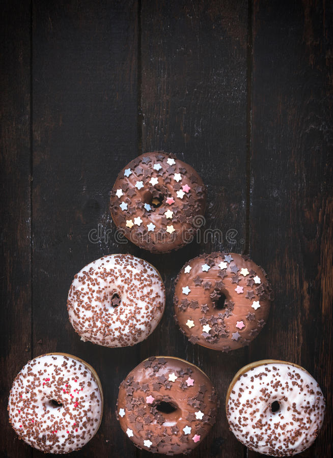 Dark and white chocolate donuts royalty free stock photos