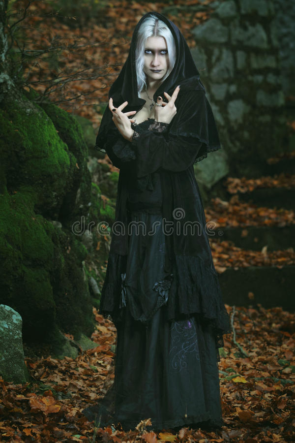 Dark witch posing in the woods stock images