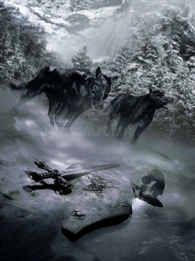 Dark wolves discovering vector illustration
