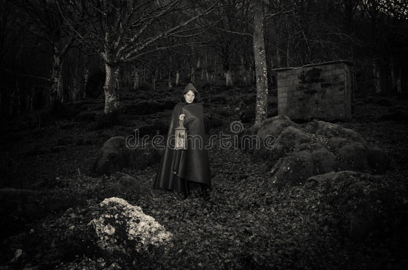 Dark woman walking in the gothic forest. Portrait of dark woman walking in the gothic forest stock image