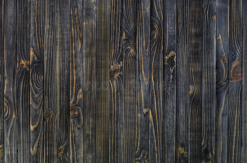 Dark Wood Background. Panel of Vertical Wooden Aged Boards stock photography
