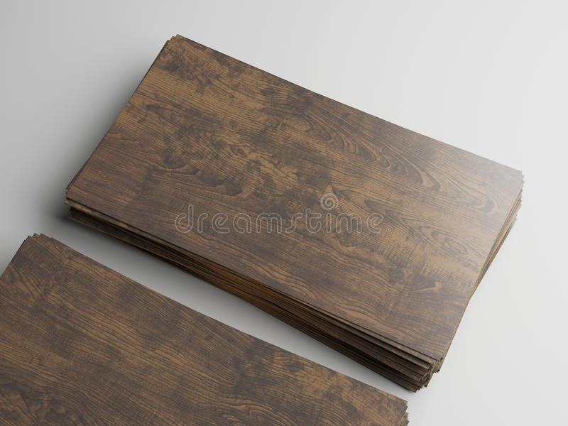 Dark Wood Business Cards On White Background Stock Photo - Image of ...