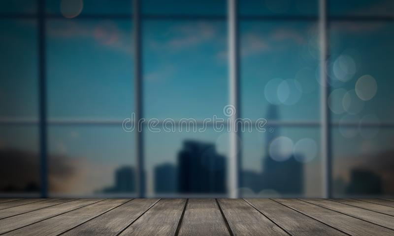 dark wood counter background on blurred office background royalty free stock images