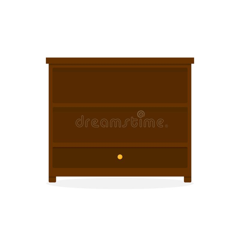 Dark Wood Drawer Storage Cabinet Furniture Illustration. Dark Wood Drawer Storage Cabinet Furniture Vector Illustration Graphic Design royalty free illustration