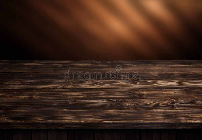 Dark wood table, brown wooden perspective interior stock image