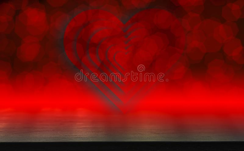Dark wood table,Valentines day concept and love red shape heart with bokeh background, empty for text and placing products with royalty free illustration