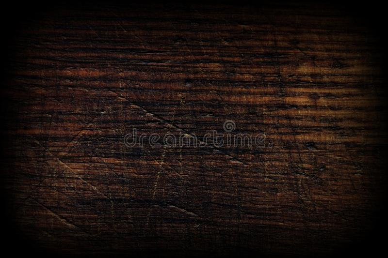 Dark wood texture. Wood brown texture. Background of old panels. Retro wooden table. Rustic background. Vintage color surface, vig. Nette. Copy space stock image