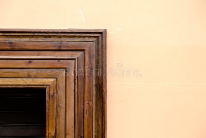 Dark Wooden Closed Windows Contrasting To Light Cream Wall Stock ...