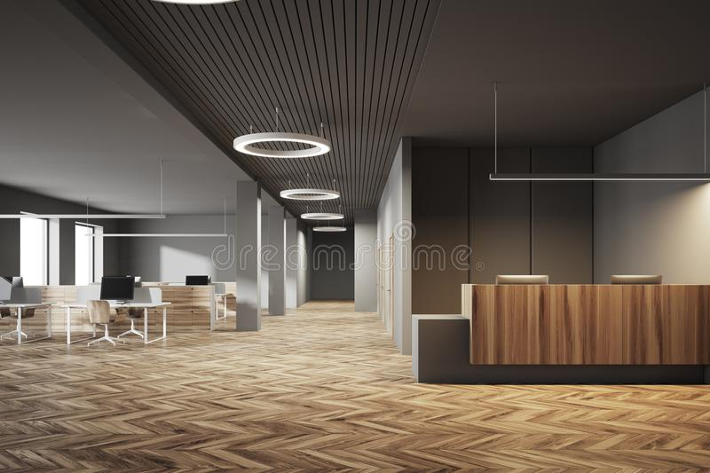 office reception interior. Download Dark And Wooden Office, Reception Open Space Stock Illustration - Of Comfortable, Office Interior