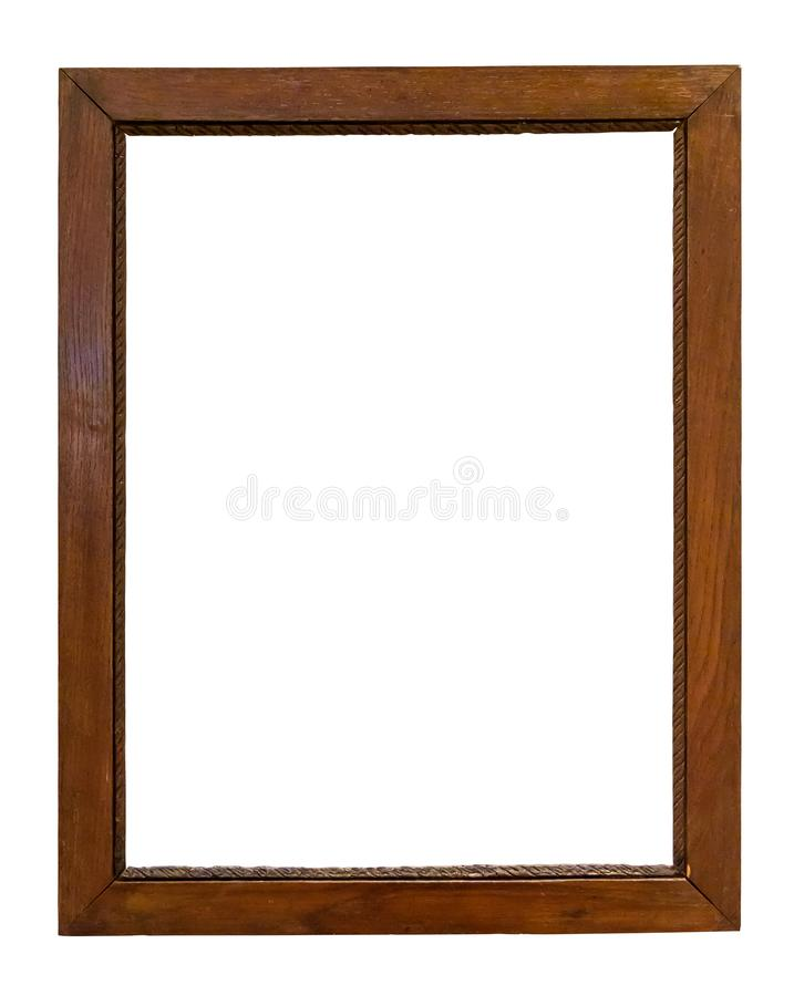 Dark wooden picture frame on white backround. Dark wooden picture frame isolated on white background with clipping path royalty free stock photo