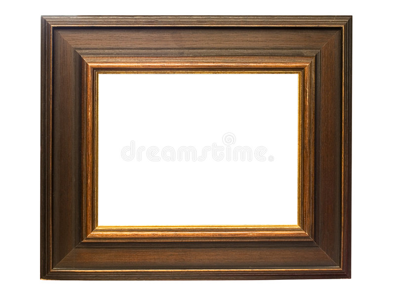 Dark Wooden Picture Frame w/ Path. A massive wooden picture frame. File contains clipping path stock images
