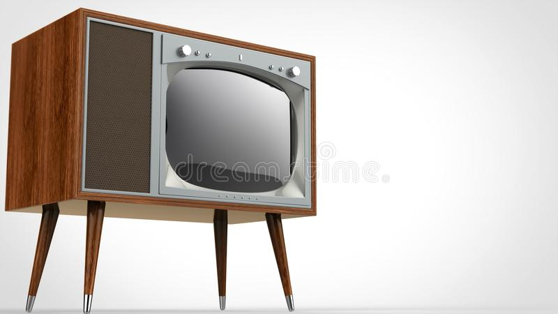 Dark wooden vintage TV set with silver front and legs. On white background vector illustration