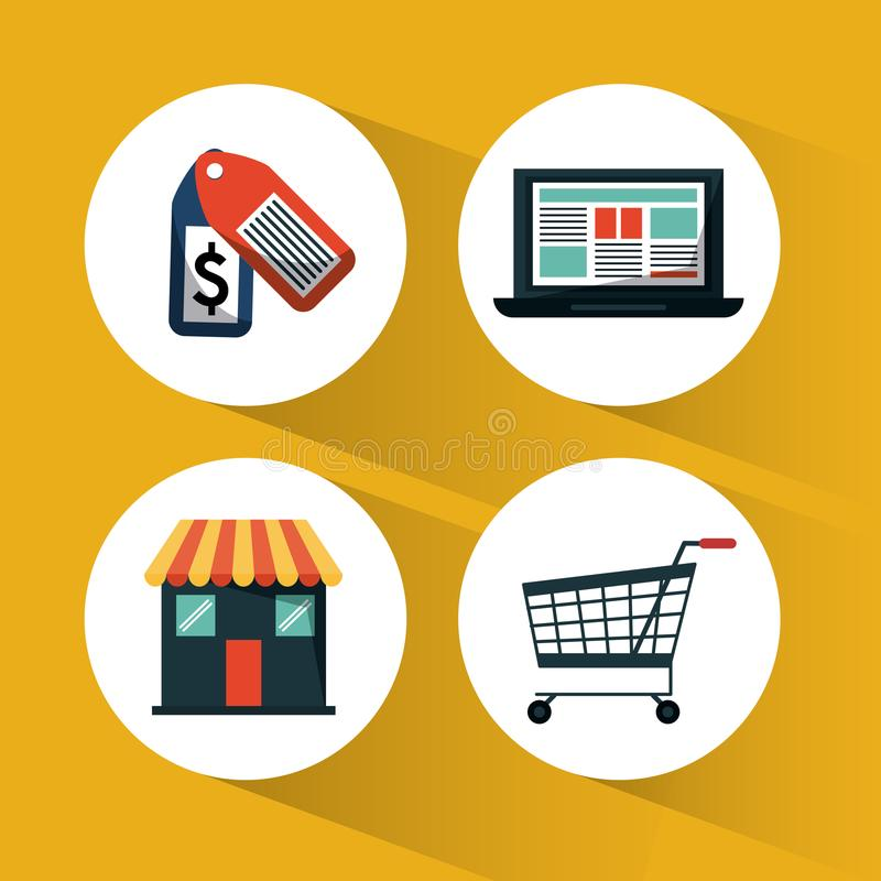 Dark yellow background with icons set for shopping online vector illustration