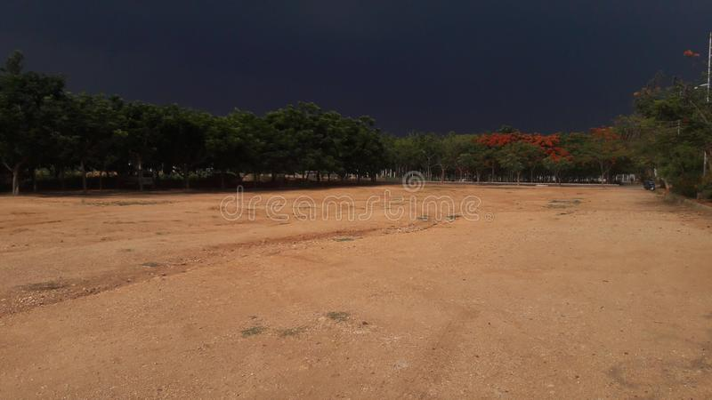 Darken ground in my college with a perfect climate. In rainy climate royalty free stock images