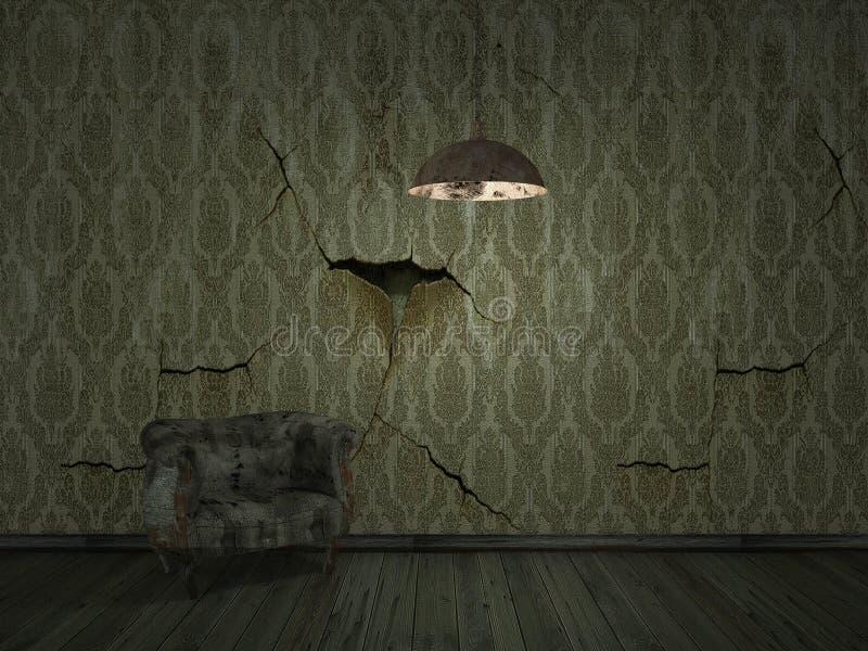 darklight velho da casca do wallpper com sofá velho - backgroun interior foto de stock royalty free