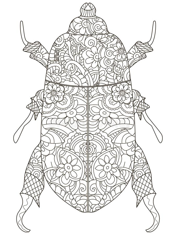 Anti Stress Coloring Book Vector Object Egyptian Beetle Black Lines