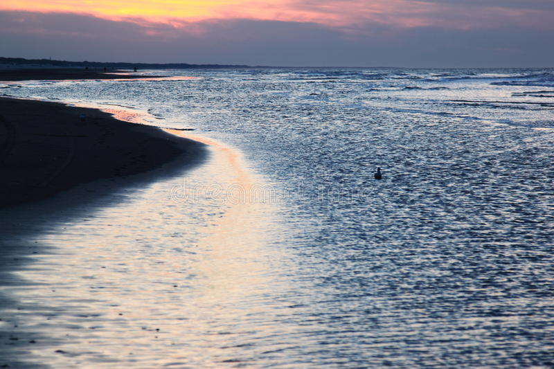 Darkness is falling over North Sea, Ameland, Holland royalty free stock image