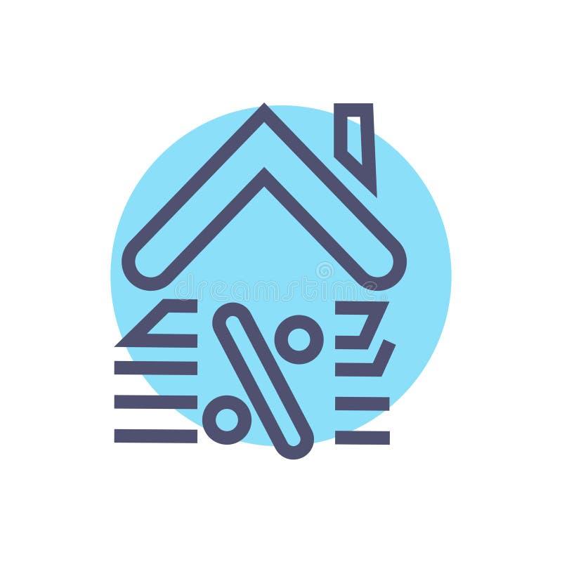 Darlehensikone Vektor einfach vom Wohnungsbaudarlehenzeichensymbol mit haus- Vektor lizenzfreie abbildung