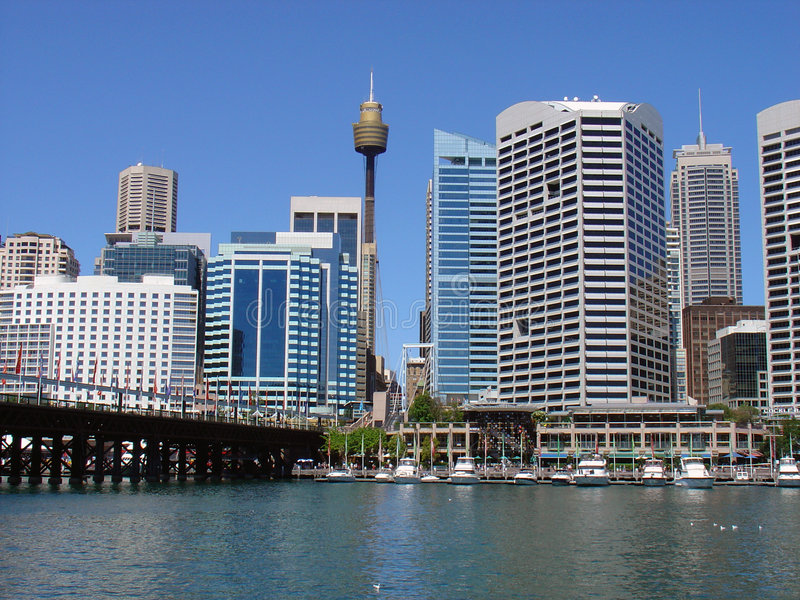 Darling Harbour. Looking across Darling Harbour towards Centerpoint Tower in Sydney, NSW, Australia royalty free stock photography