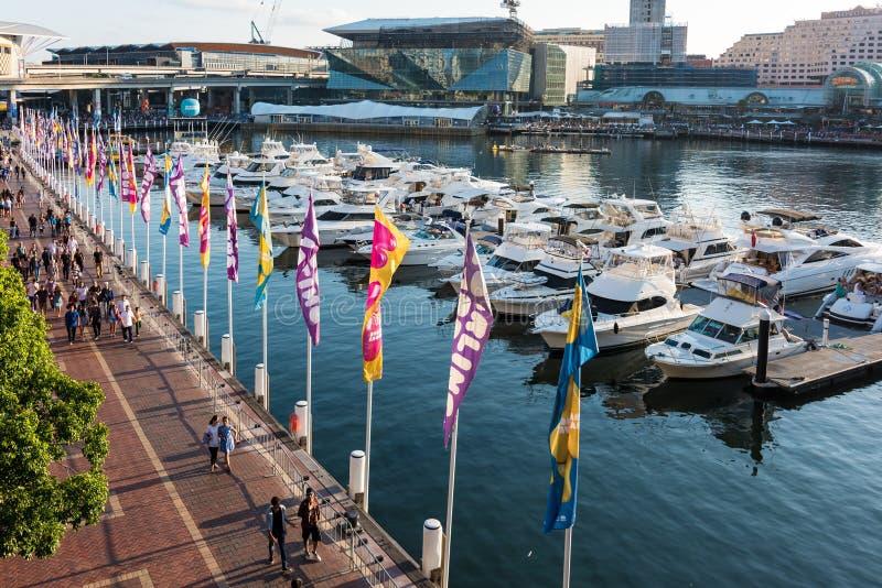 Darling Harbour, cais da baía do berbigão e Pyrmont em Sydney Harbour foto de stock royalty free