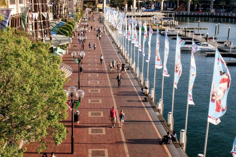 Darling Harbour-promenade, Sydney, Australië stock fotografie