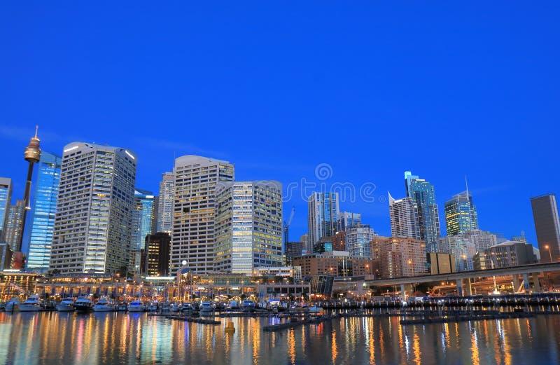 Darling Harbour Sydney-Nachtstadtbild Australien stockfoto