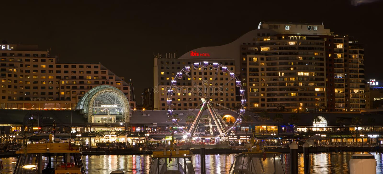 Darling Harbour, Sydney, at Night royalty free stock photography