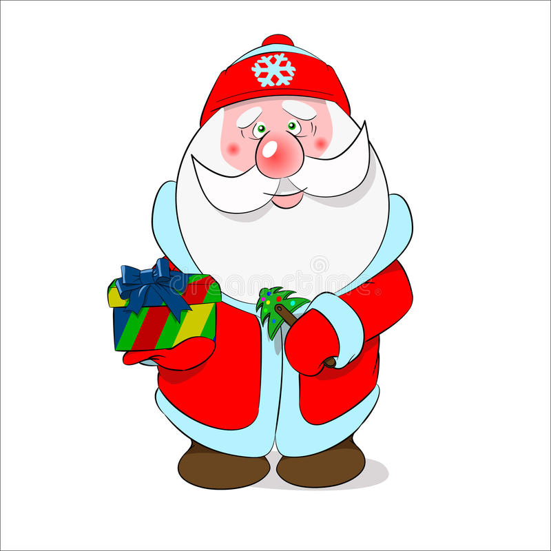 The darling nice Santa with a gift stock image