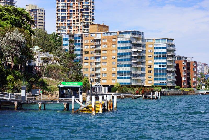 Darling Point Ferry Wharf, de haven van Sydney, Australië stock afbeeldingen