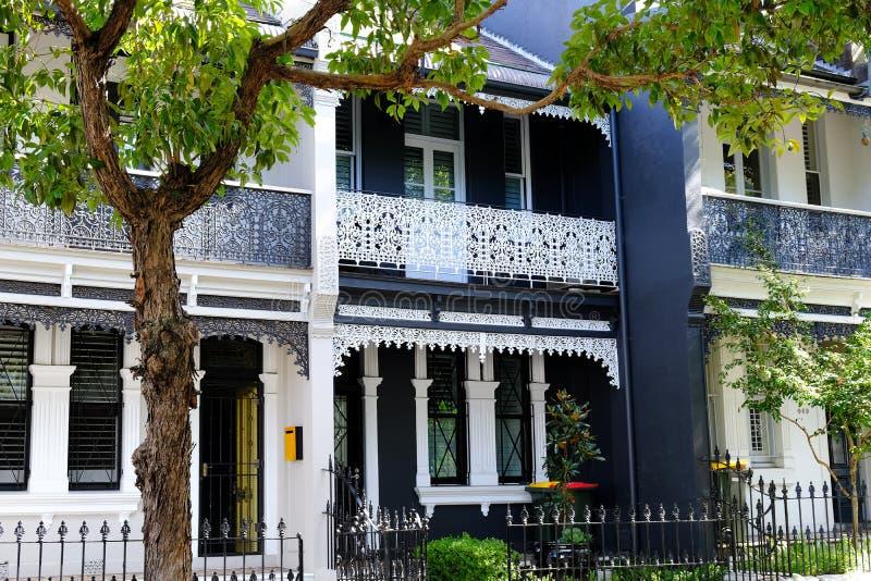 Darlinghurst-Reihenhäuser, Sydney, NSW, Australien stockbilder