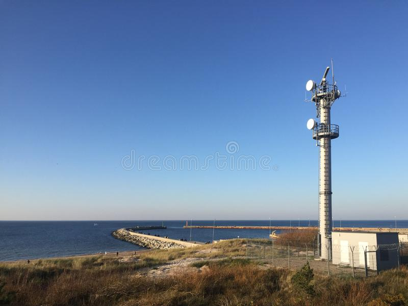 Darlowo Darlowko Poland port entrance with radar stock photography